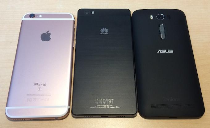 iPhone 6s・P8lite・ZenFone 2 Laserを徹底比較してみた