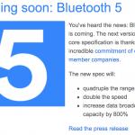 Bluetooth5が近々登場!転送速度が2倍、到達距離が4倍と過去最高スペックに