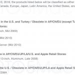 iPhone4やMacBook(2008年late版)、iMac(2009年mid版)などの修理サポートが終了